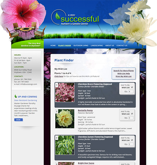 NetPS Plant Finder Personal Plant List Page