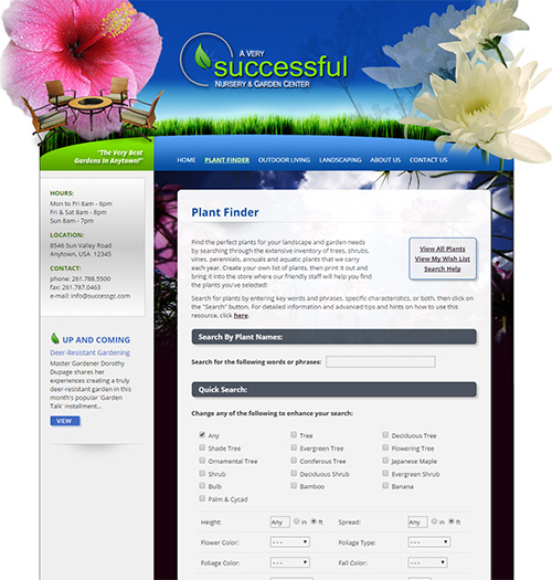 NetPS Plant Finder Search Page